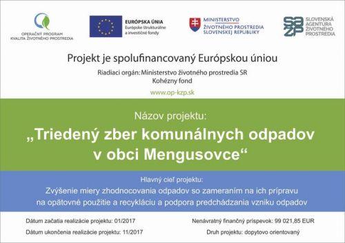 9f5f15827 Triedený zber komunálnych odpadov v obci Mengusovce - Oficiálne ...